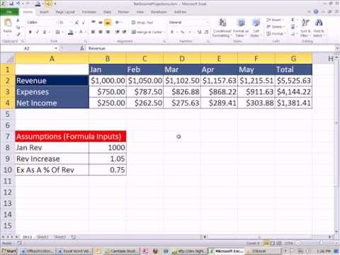 Office 2010 Class #19: Excel Intro Project 02: Formulas, Charts, Page Setup Net Income