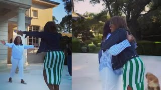 Watch Oprah and Gayle Hug After 2 Week Quarantine