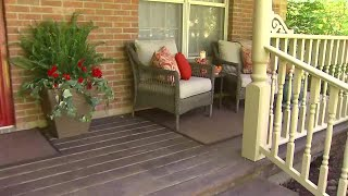 A raw front porch transformation by sanding off the original paint