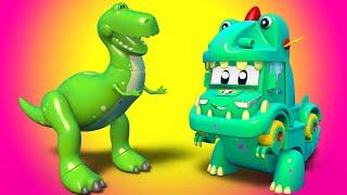 Супер Грузовик подружился с Динозавром Супер Грузовик Спасатель Детские мультфильмы
