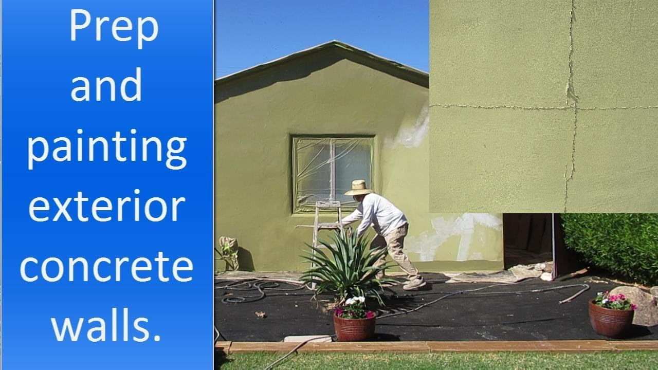Painting Exterior Concrete Walls Of A House Youtube