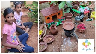 Real miniature cooking P-40 Tamil |kids cooking in their outdoor miniature kitchen|mini veg pizza