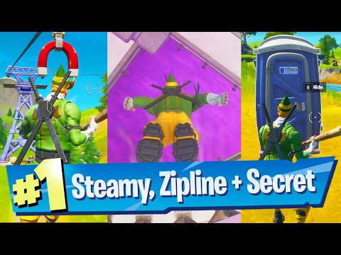 Ride The Steamy Stacks, A Zipline And Use A Secret Passage In A Single Match Location - Fortnite