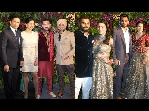 Indian Cricketers With Wife At Virat Kohli And Anushka Sharma's GRAND Reception In Mumbai