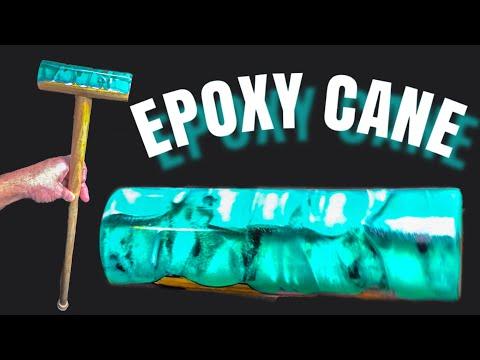 Wood turning - epoxy resin cane / walking stick / Art Resin
