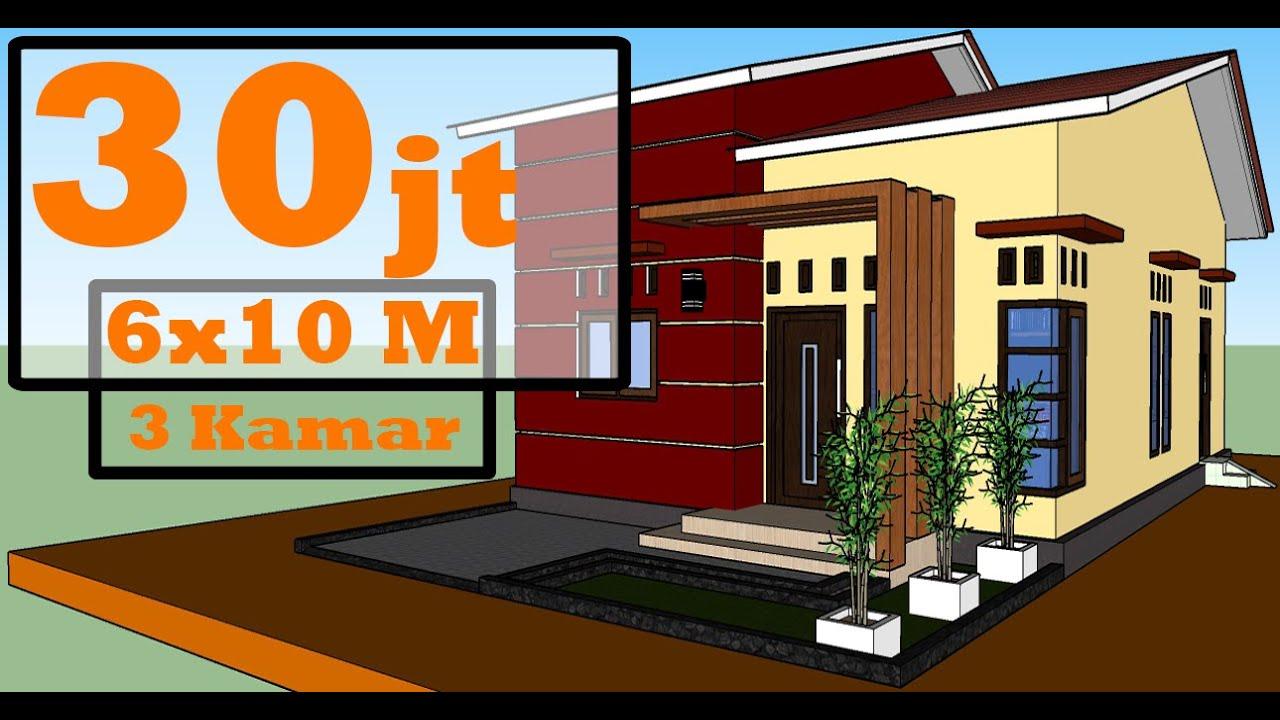 Desain Rumah Minimalis Sederhana 6x10 Meter 3 Kamar Mzu Official Youtube