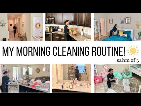 MY MORNING CLEANING ROUTINE // STAY AT HOME MOM OF 3 // Jessica Tull cleaning motivation