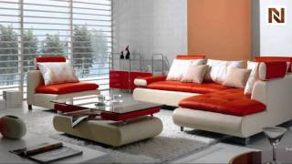 Modern Contemporary White And Red Sectional Sofa Set Vgbnb205