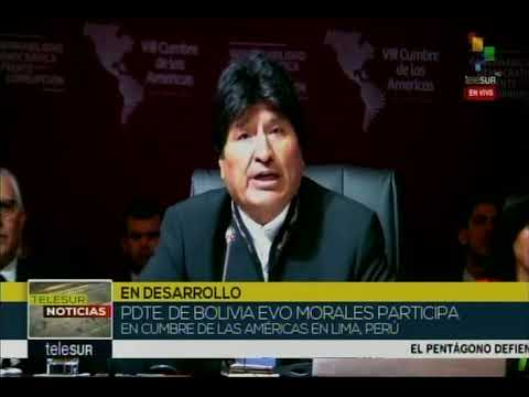 Evo Morales en la Cumbre de las Américas 2018 (fragmento)