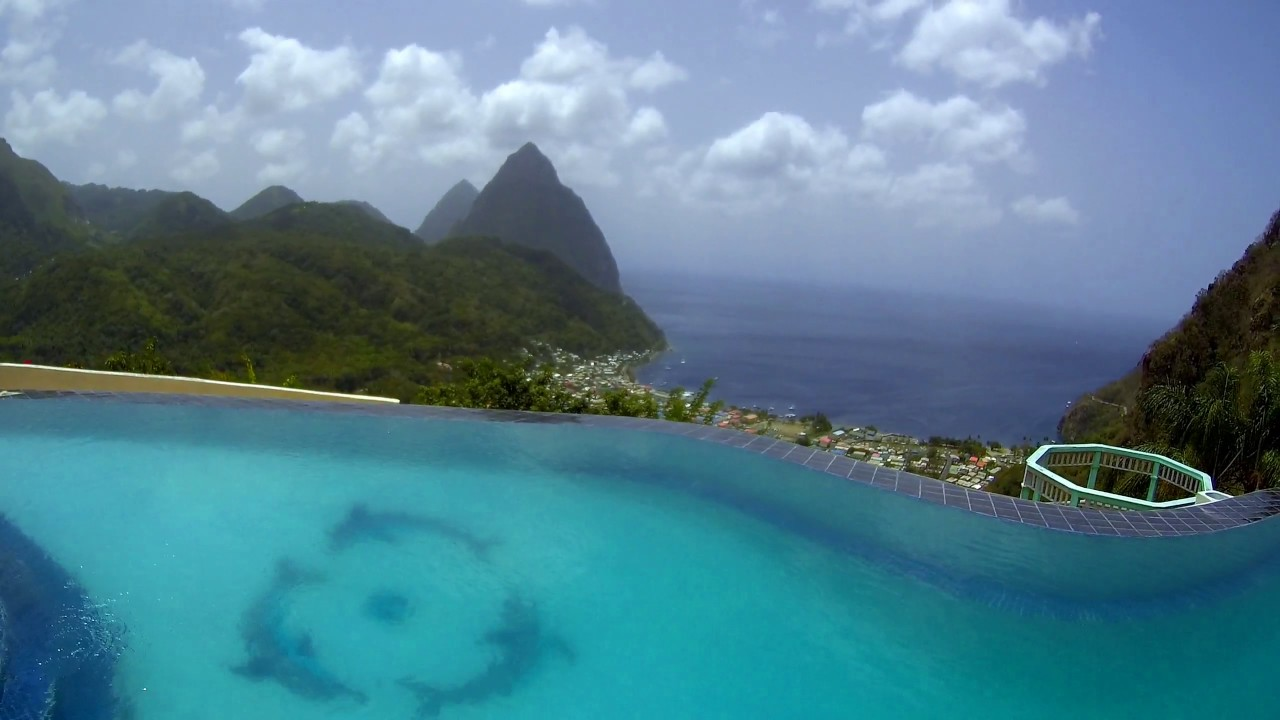 St Lucia Infinity Pool Overlooking The Pitons