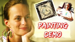 #4 Abstract Acrylic Painting DEMO - painting over an old canvas