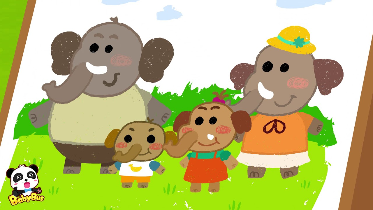 大象一家鼻子長   動物兒歌   兒童歌曲   幼兒音樂   童謠   寶寶巴士 - YouTube