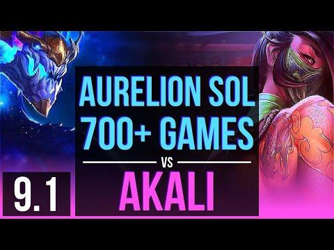 AURELION SOL vs AKALI (MID) | 700+ games, KDA 13/3/8, Godlike | EUW Master | v9.1