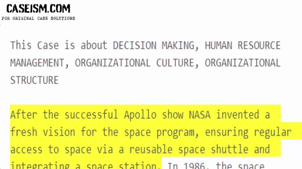 Space Shuttle Case Study Help - Caseism com
