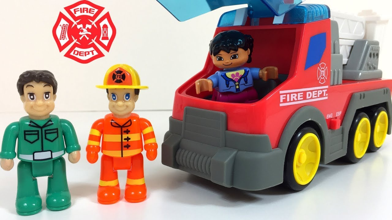 Lego Duplo Fire Department Ambulance In Action Saving Mom And