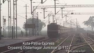 #Wap4 13240 पटना-कोटा एक्सप्रेस [वाया सुलतानपुर] crossing Dildarnagar junction @110