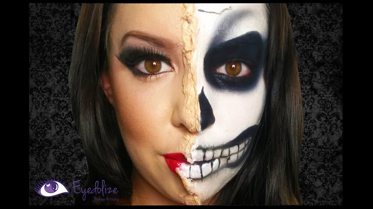 Peeling Half Skeleton Halloween Makeup Tutorial by EyedolizeMakeup ...