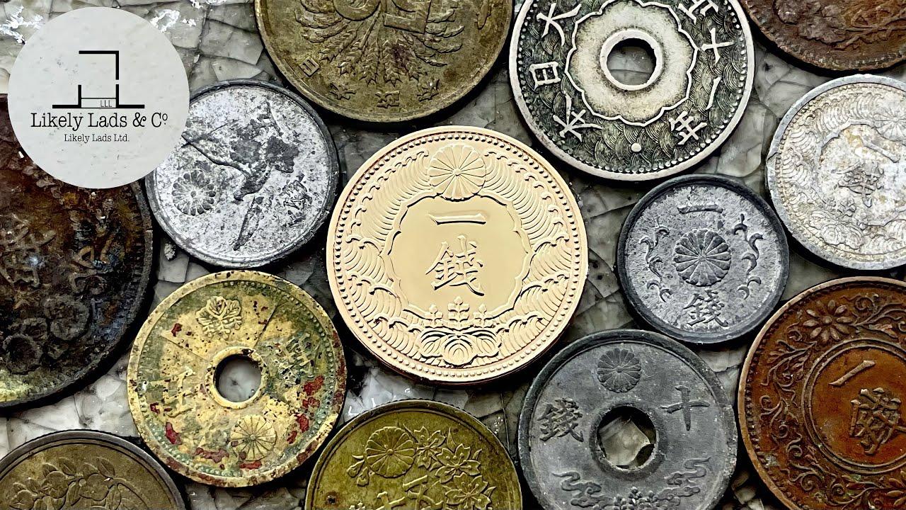 【Old Coins】Restoration time lapse ASMR 昭和レトロなカラス1銭黄銅貨(硬貨)を磨いて鏡面仕上げ 古銭コイン磨き