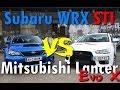 Drag Race 1/4 mile - Subaru WRX STI vs Mitsubishi Lancer Evo X