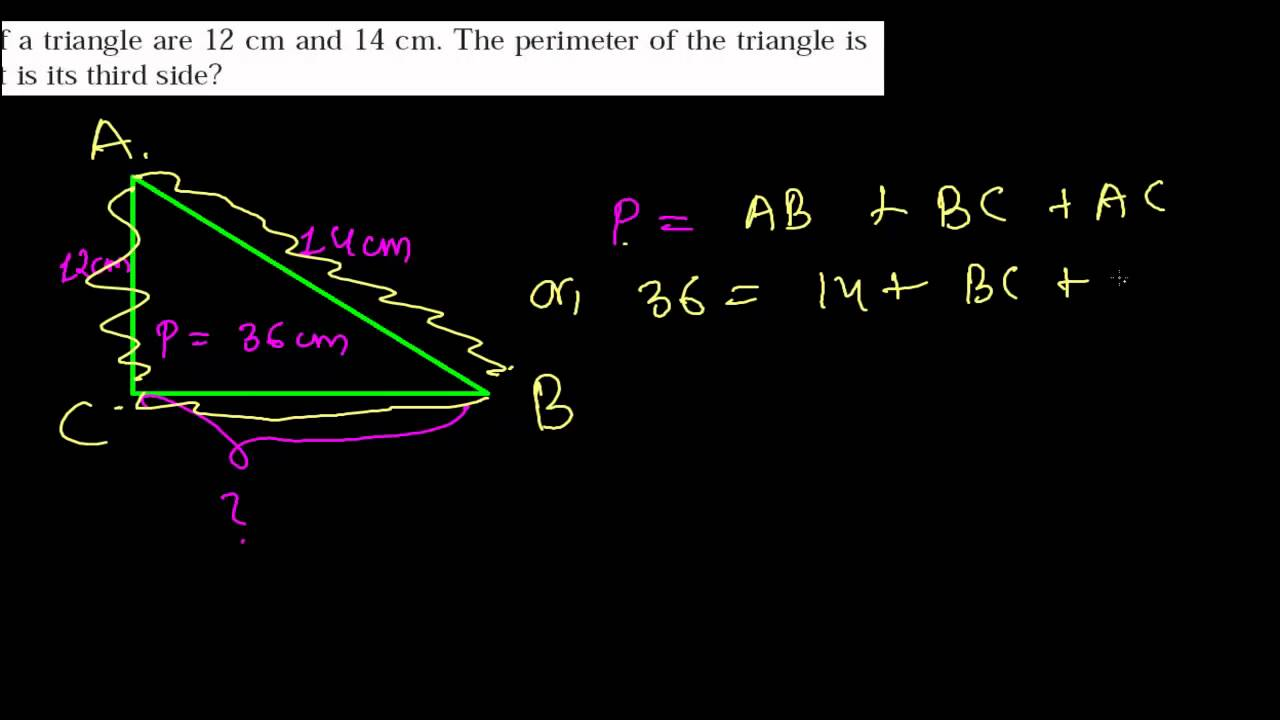 How To Find Third Side Of A Triangle  Perimeter Word Problems Area &  Perimeter 9