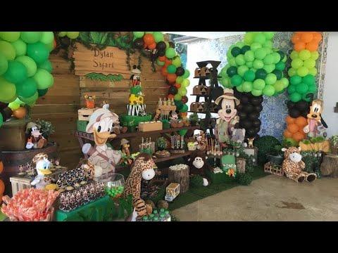 FIESTA DE SAFARI MICKEY MOUSE|2019 BIRTHDAY PARTY FIESTAS INFANTILES IDEAS  SELVA DECIRACION BOYS