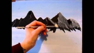 3 Easy steps to painting a MOUNTAIN with Acrylic Paint for the beginner step by step