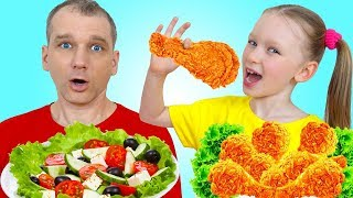 Лиза и папа кушают не полезную еду и учатся как кушать правильно