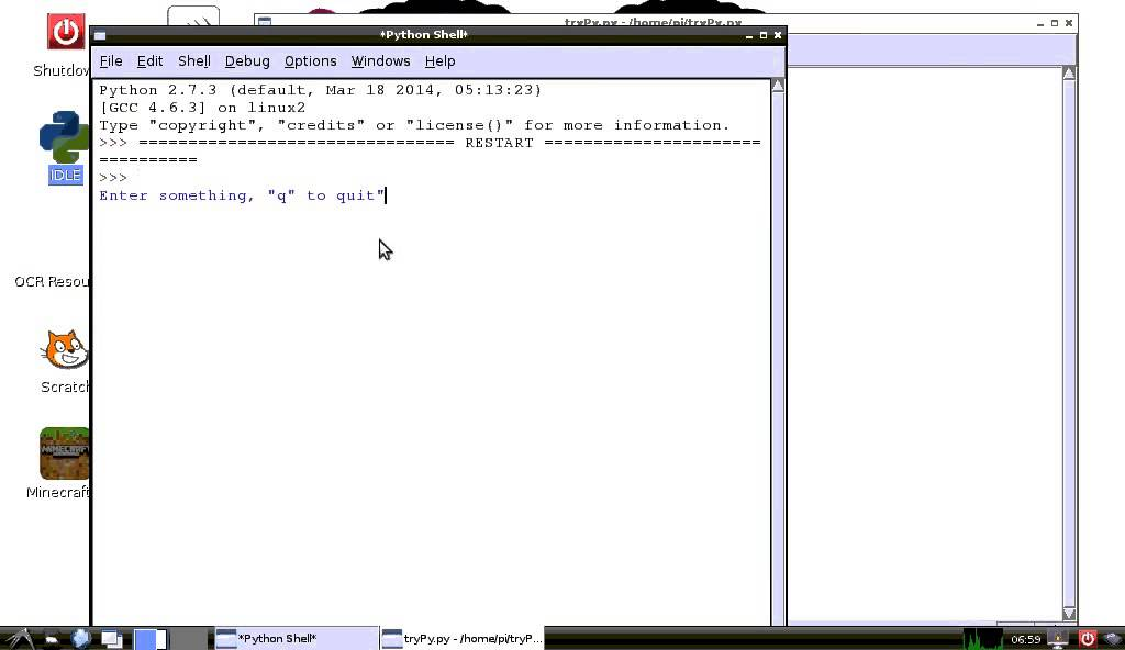Python exercise: read line of input, 'q' to quit