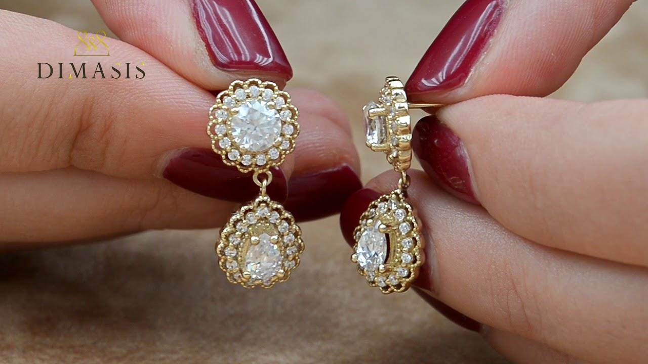 Κρεμαστά Σκουλαρίκια Ροζέτες Με Λευκές Πέτρες Χρυσά Κ14 D026575 ... b5871c5419b