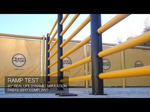 a-safe-|-iflex-high-level-pedestrian-7-rail-barrier---ramp-test