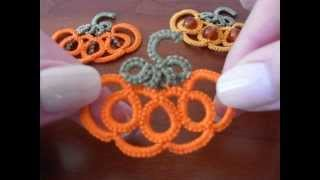 8' TUTORIAL ORECCHINI CIONDOLO ZUCCA DI HALLOWEEN CHIACCHIERINO AD AGO EARRINGS NEEDLE TATTING