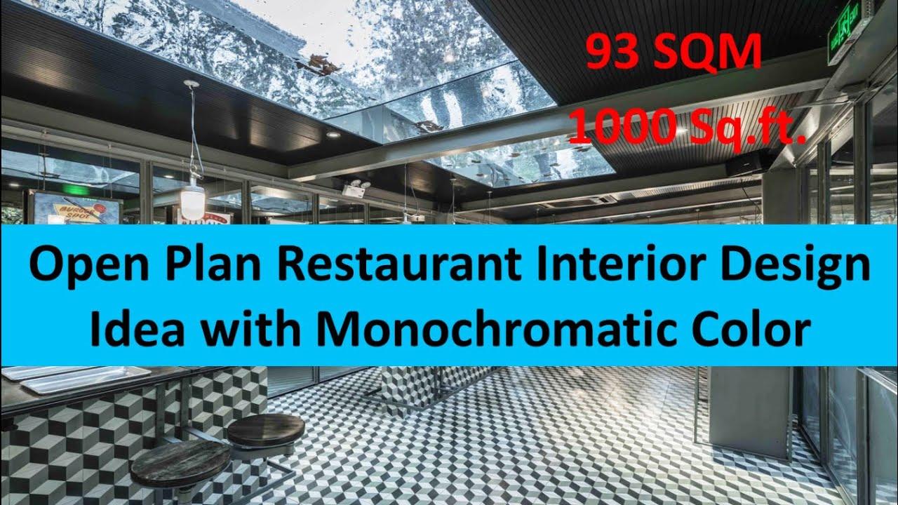 open plan restaurant interior design idea with monochromatic color