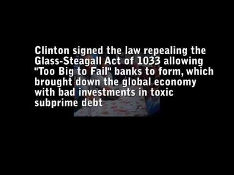 Bill Clinton speaks about the repeal of Glass-Steagall that caused the financial collapse of 2008