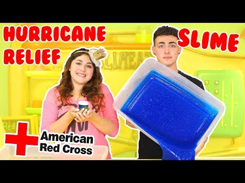 HURRICANE RELIEF SLIME | Making slime to raise money for the red cross | Slimeatory #135