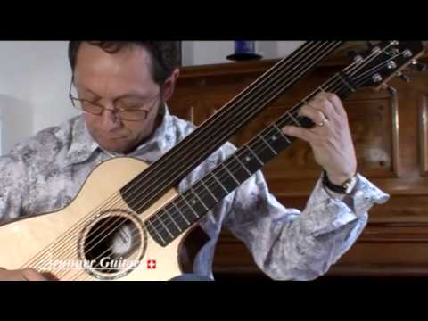 "Philippe Fouquet demonstrating his Brunner custom ""Harp Outdoor Guitar"" Song 1"