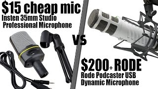 Cheap $15 Insten 3.5mm Microphone Vs $200 Rode Podcaster USB Mic - Includes Audio Test! (Tech video)
