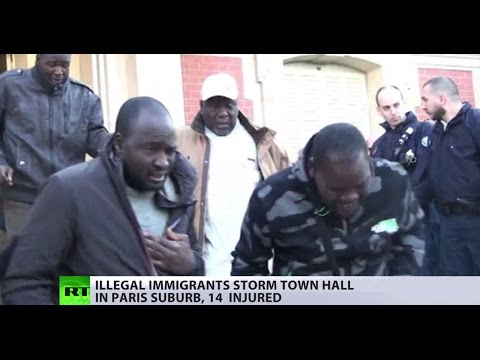 Illegal immigrants storm town hall in Paris suburb, 14 reported injured