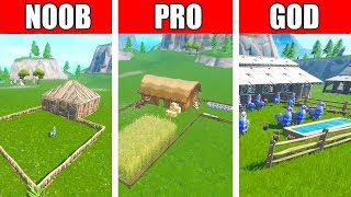 Fortnite NOOB vs PRO vs GOD: LLAMA FARM BUILD CHALLENGE in Fortnite