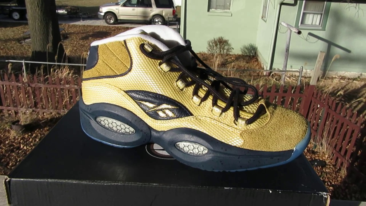 ab591faad622 GOLD Reebok Question Unboxing + On Feet Review - YouTube