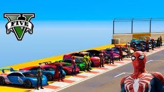 Desafio na Mega Rampa CARROS HOT WHEELS com Homem Aranha, Capitão América e outros - GTA V MODS