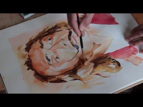 Portrait à l'aquarelle de Salvador Dali 1972