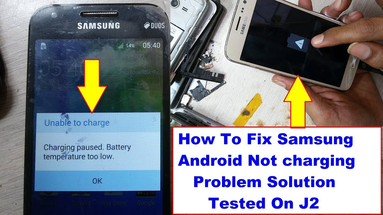 Samsung Not Charging Solution | Samsung J210f Charging Paused Battery  Temperature Too Low Solution