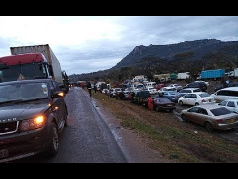 Motorists stuck in massive traffic snarl up at Mombasa road after fatal accident