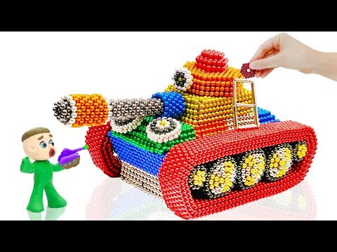 SUPERHERO BABY BUILDS MAGNETIC TANK 💖 Cartoons Play Doh Stop Motion