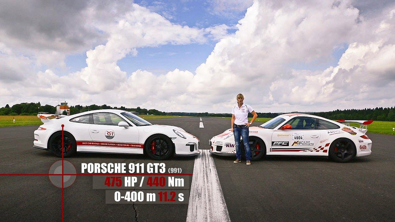 Porsche 991 Gt3 Vs 997 Gt3 Rs Sabine Schmitz Drag Battle
