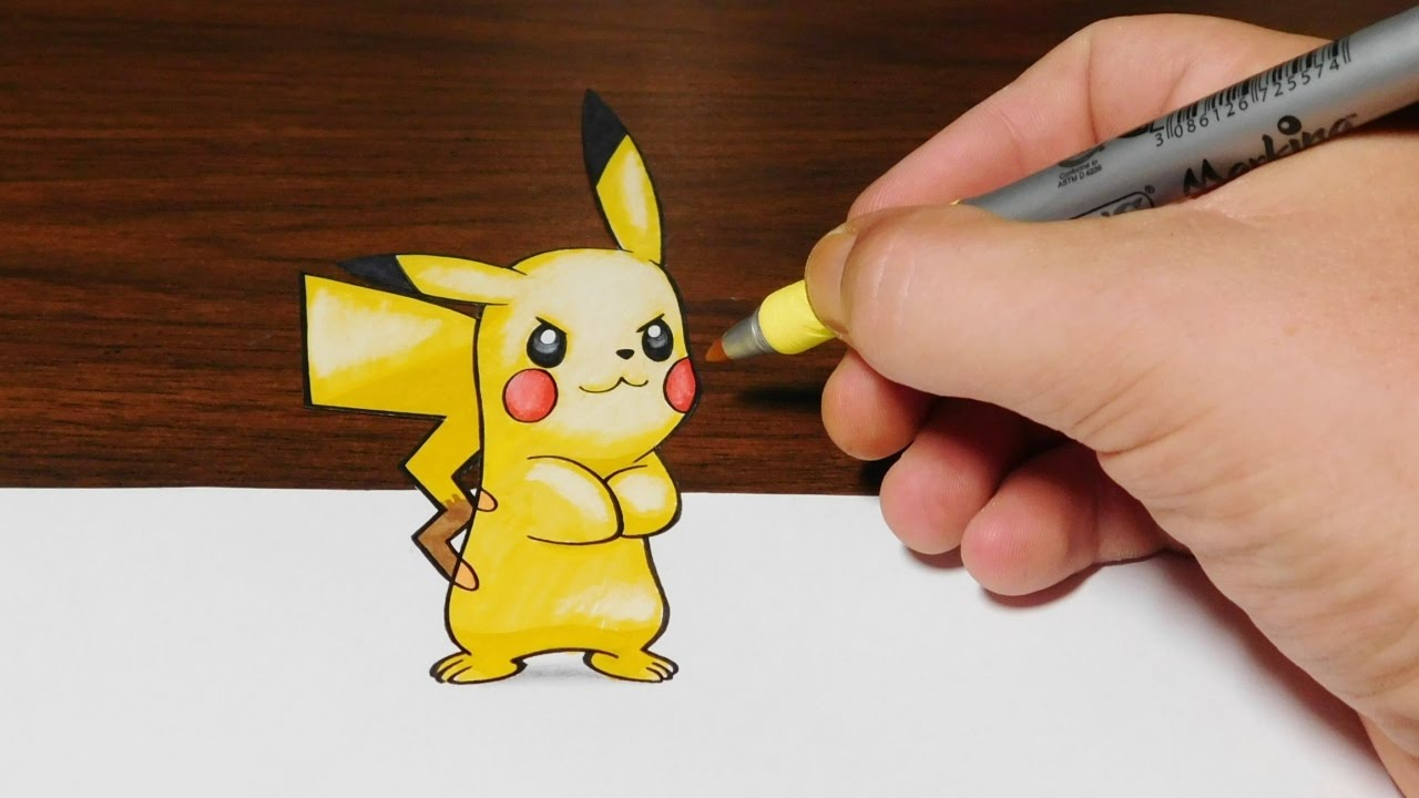 Drawing Pikachu - Pokemon 3D Trick Art - YouTube