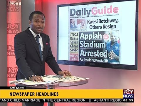 AM Show Newspaper Headlines on JoyNews (27-9-17)