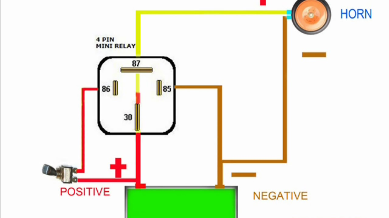 HORN RELAY simple wiring  YouTube