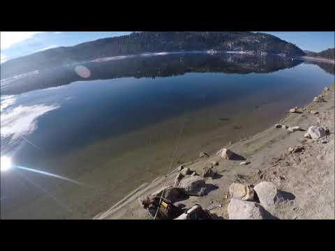 Icy Shore Fishing Big Bear Lake,CA Feb 2019