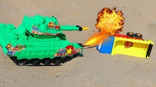 Tanks Attacking Car For Kids | Fire Truck and Dump Truck  Funny Video For Children